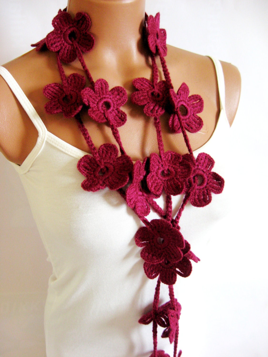 Crochet Burgundy Flower Lariat Scarf Fashion Flower Scarves Necklace  Crochet Flower Scarves
