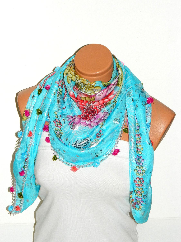 turquoisemulticolor turkish yemeni oya scarf