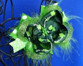 St. Patrick's emerald & lime boutique hair bow with lime marabou and glitter surround bow