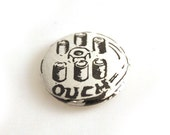 Comic Book Pinback Button Badge Caption Speech Geeky - ouch
