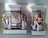 Set of 1970's Decorative Elephant Book Ends
