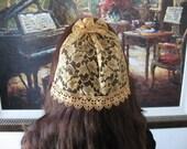 Gold Lace Beaded Half-Doily Doily Kippah Kippot Yarmulke Women's Headcovering