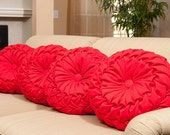 "Decorative smocked pillow in red twill. Large 16"" x 8"" pleated cushion in red."