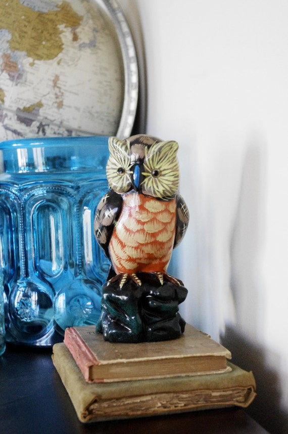 Vintage Ceramic Owl - Home Decor - Bright Coloring - Possibly Hand Painted - Harry Potter - Halloween
