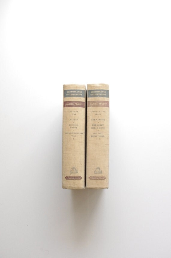 2 Vintage Beige Books - Marcel Proust - Remembrance of Things Past - 2 Volumes - Interior Design - Photography - Design -