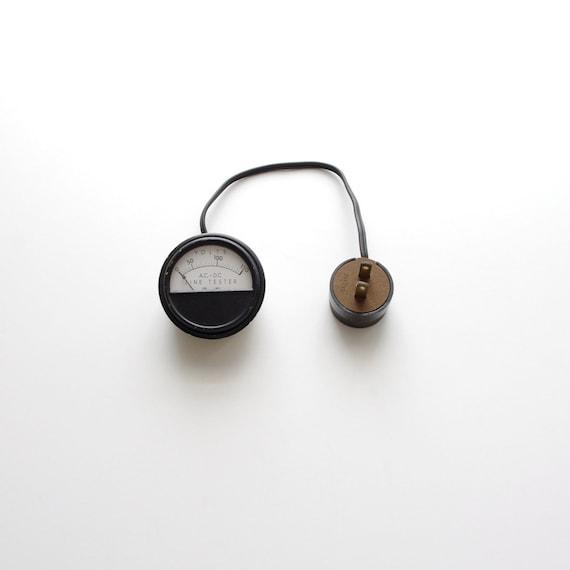 Vintage Shurite AC - DC Voltage Line Tester - Industrial - Steampunk - Black and White