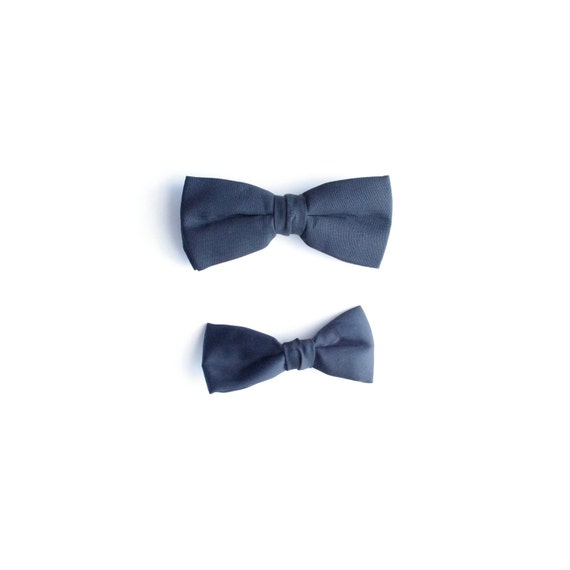 2 Vintage Black Bowties - Clip On - Mad Men Style - Father's Day - One Damask and One Satin - Ormond and Delton Bowties - James Bond Style