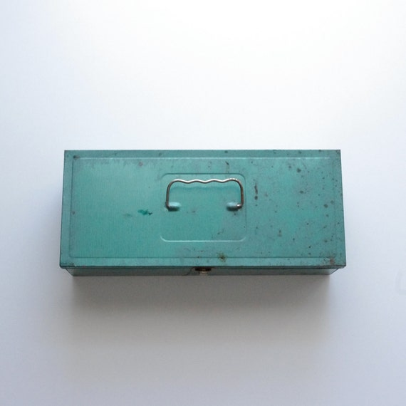Vintage Metal Tool Box - Industrial Storage - Tackle Box - Rustic - Home Decor - Green