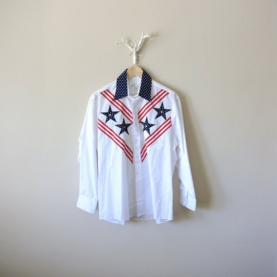 Vintage Western Shirt - Stars and Stripes - Evil Kenevil - Father - Memorial Day - Fouth of July
