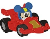 Boy Mouse Race car  - Applique AND Embroidery file - digital FILES ONLY