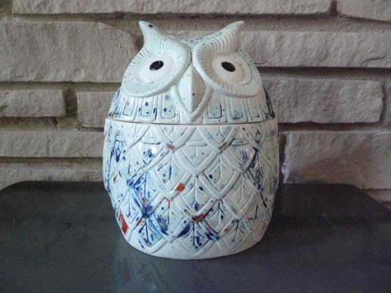 Reserved for Katie: Vintage Ceramic Owl Cookie Jar c. 1977