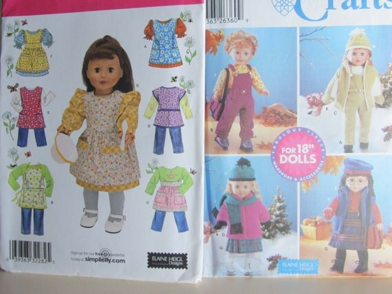 "2 simplicity Patterns for 18"" dolls. Never cut or used."