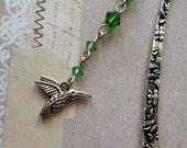Green Swarovski Crystals and Hummingbird Charm Bookmark