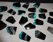 Ice Teal Blue Agate Druzy Faceted Bead Pendants 27mm - 37mm