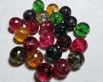 Tourmaline Quartz Faceted Ball Beads 14mm