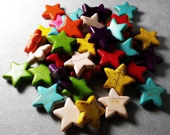 Multicolor Howlite Star Shape Beads 20mm