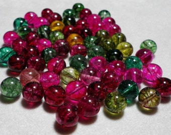 Multicolor Pink And Green Tourmaline Quartz Round Beads 10mm