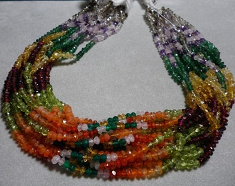 Multicolor Gemstone Rondelle Hand Faceted Strand 4mm to 4.5mm