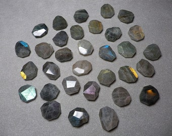 Rare Labradorite Hand Faceted Geometric Nugget Beads Small 12mm - 16mm  Large 17mm - 20mm  X-Large 21mm - 24mm