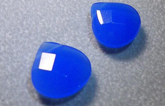 Foggy Blue Faceted Briolette Quartz Beads