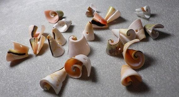 Natural Light Pink Geometric Shell Fancy Swirl Beads Mix Sizes