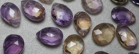 Purple Amethyst Ametrine Faceted Briolette Bead 13mm to 14mm