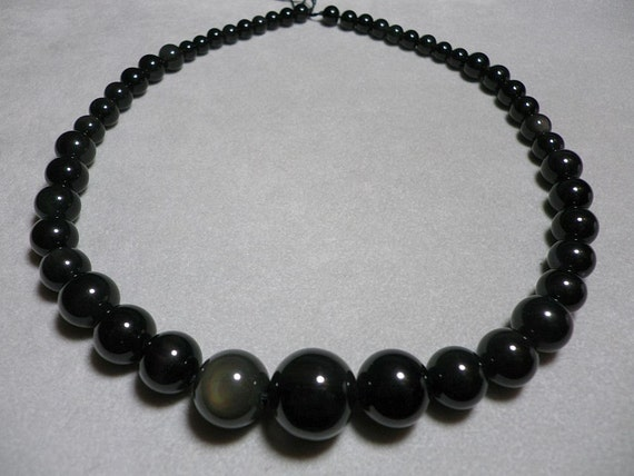Rare Black Shiny Moonstone Spectral Graduating Round Beads Strand 6mm to 16mm