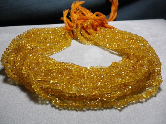 Citrine Hand Faceted Rondelle Bead Strand 4mm to 5mm