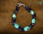 Green Turquoise Nuggets and Amethyst Bracelet