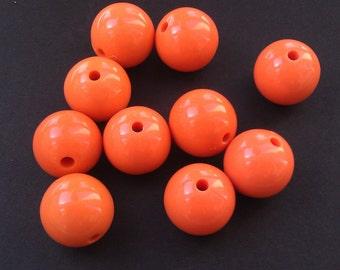 Orange Plastic Gumball Beads