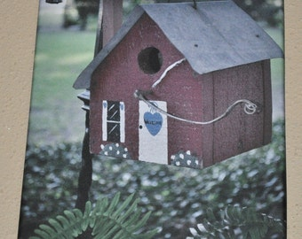 Red Bird House On Canvas