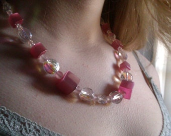 Pink Glass & Crystal Sugar Cube Necklace