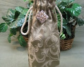 Brocade wine gift bag with crystal charm & drawstring handles