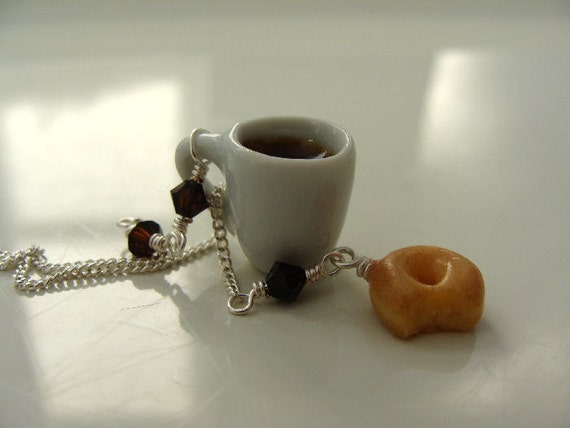 Cup of Coffee and Doughnut Necklace