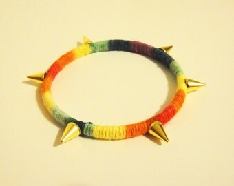Neon Mixed Colors Cotton Wrapped Bangle With Gold Spikes