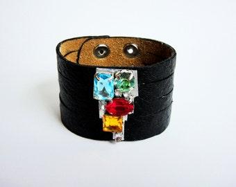 Genuine black leather bracelet with rhinestones