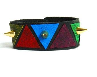 Triangle Golden Spike Bracelet Cuff