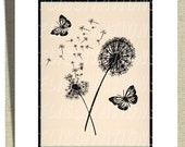Home Decor  Modern Wall Art Floral Butterflies Pink & Black  Stylish Picture Prints Set of two