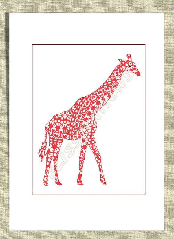 Baby Nursery Decor Giraffe Cute Animal Art Picture Print Pink Purple Blue Orange Personalised on Request