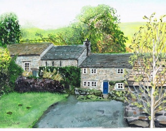 Print of Original Watercolour painting of Countersett in Raydale , a few miles from Hawes in North Yorkshire, England