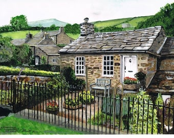 Old Schoolhouse at Countersett, near Hawes - Print 16 x 12 of Original Water Colour
