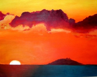 Burning Clouds at Sunset - Original Print