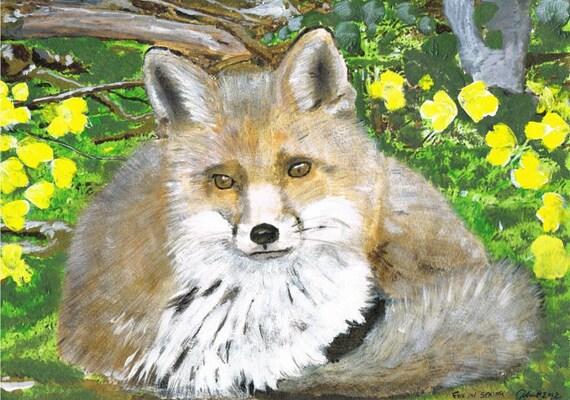 Fox in Springtime - Print of Original Acrylic Painting