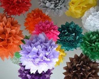 20 tissue paper Pom Pom kit- You choose COLORS tissue paper poms // diy // wedding decoration // baby shower // party decor