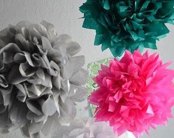 3 MEDIUM Pom Pom kit- You choose COLORS tissue paper poms // diy // wedding decoration // baby shower // party decor
