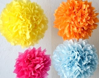 Sale 10 tissue paper pom poms- You choose COLORS - tissue paper poms // diy // wedding decoration // baby shower // parties