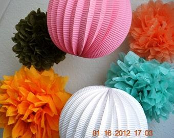 4  Medium Pom Poms & 2 Lantern Kit- you pick colors