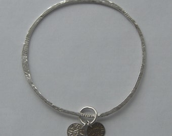 Bangle - sterling silver with silver and brass discs