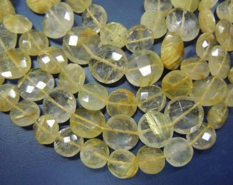 Golden Rutilated Quartz Gemstone Faceted Coin Beads 8 inches AAA Quality size 8mm 12 mm approx Wholesale Price