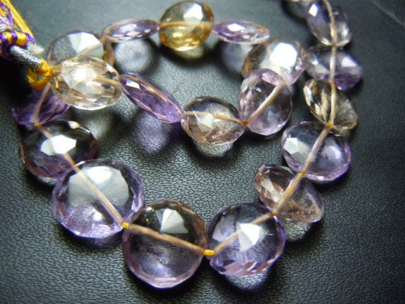 8'' AAA High Quality Ametrine Gemstone Faceted Coin 10x10MM Wholesale Price